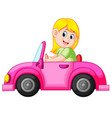 woman drive the clean pink car vector image