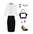 women set shirt skirt bag and shoes vector image vector image