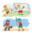 Set icons of boys playing football and baseball vector image