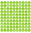 100 microscope icons set green circle vector image vector image