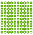 100 team work icons hexagon green vector image vector image