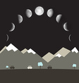 Abstract Flat Design Night Landscape with Moon vector image vector image