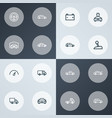 automobile icons line style set with truck vector image vector image