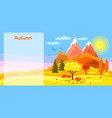 autumn banner with trees mountains and hills vector image