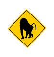 Baboon warning sign vector image vector image