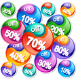 Background with colorful discount labels vector image vector image