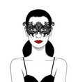 beautiful girl in carnival mask vector image vector image