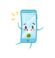 blue humanized mobile phone with incoming call vector image vector image