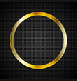 Bright golden ring on perforated texture vector image