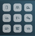 building icons line style set with entrance truck vector image vector image