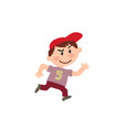 cartoon character white boy with red cap running vector image