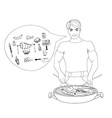 Cartoon Male dressed in grilling attire cooking vector image vector image
