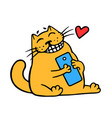 cartoon orange cat and blue smartphone good news vector image