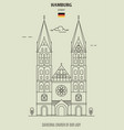 cathedral church our lady in hamburg vector image vector image