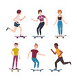 collection of modern teenage skater boys and girls vector image vector image