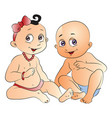 cute babies gossiping vector image
