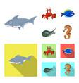 design of sea and animal icon set of sea vector image vector image