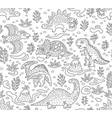 dinosaurs ink seamless pattern coloring book page vector image