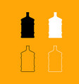 dispenser large bottles set black and white icon vector image