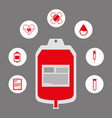 donate blood donor service plastic bag red icons vector image