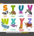 educational cartoon alphabet set with animal vector image