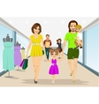family walking with shopping bags in supermarket vector image