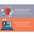 Flat computing background Data protection and vector image