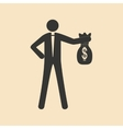 Flat in black and white man holding bag of money vector image vector image