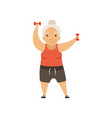 grey senior woman in sports uniform exercising vector image vector image