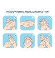 Hands washing medical instruction icons set vector image vector image
