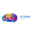 ice fishing concept banner header vector image