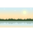 Landscape of grass with river at spring vector image