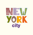 lettering with new york city vector image