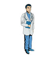 male doctor with lab coat in his office holding a vector image vector image