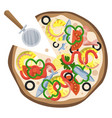 pineapple and sardine pizzaprint vector image vector image