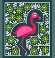 pink flamingo with flowers tropical bird vector image vector image
