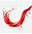 realistic red tomato juice splash paint vector image vector image