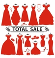 Red party dresses SilhouetteFashion sale vector image vector image