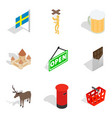 region of europe icons set isometric style vector image vector image