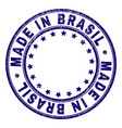 scratched textured made in brasil round stamp seal vector image vector image