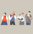 set people talking on mobile vector image