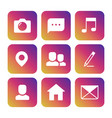 social network icons on colorful background vector image vector image