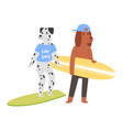 surf cat dog animal surfer character vector image vector image