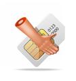 very realistic sim hand icon vector image vector image