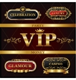 Vintage golden VIP and luxury banner sign vector image vector image