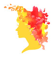 watercolor profile a woman vector image