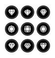 white diamonds icons set vector image