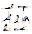 young woman practices yoga set asanas vector image