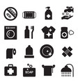 silhouette hygiene icons set vector image