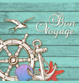 travel background with hand wheel and anchor vector image